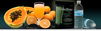 Papaya, Oranges, Orange Juice, Shakeology Packet, Bottled Water